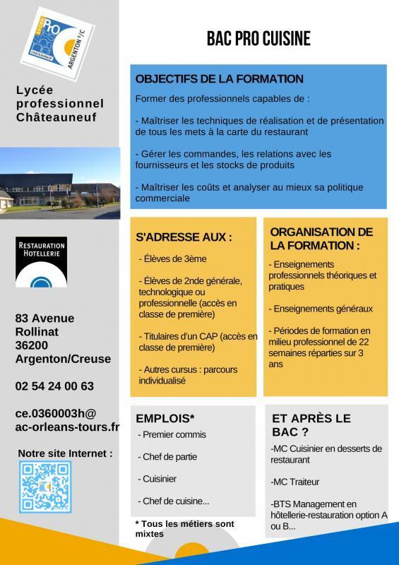 Bac pro cuisine lyc e professionnel ch teauneuf - Fiche bilan de competences bac pro cuisine ...
